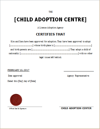 Child Adoption Certificate Template For Word | Document Hub inside Unique Adoption Certificate Template