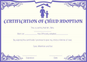 Child Adoption Certificates: 10 Free Printable And with Fresh Child Adoption Certificate Template