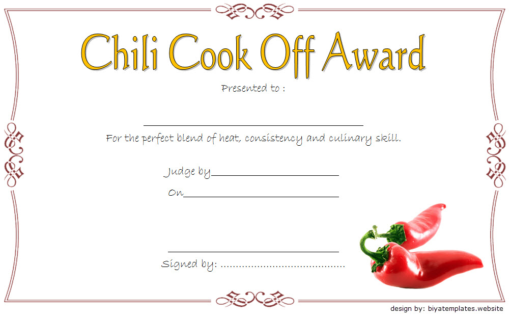 Chili Cook-Off Award Certificate Template Free 4 regarding Chili Cook Off Certificate Templates