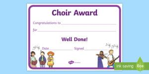 Choir Award Certificate (Teacher Made) with Choir Certificate Template