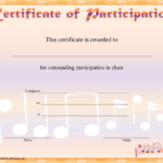 Choir Participation Certificate Printable Certificate With Choir Certificate Template