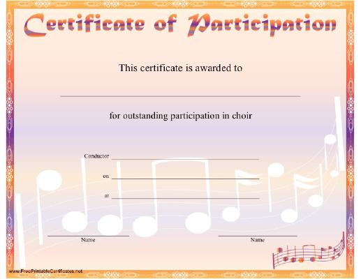 Choir Participation Certificate Printable Certificate with Choir Certificate Template