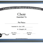 Choir Vocal Music Certificate Printable Certificate Throughout Best Choir Certificate Template