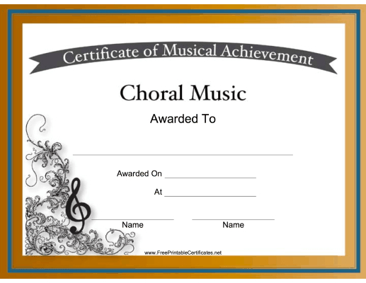 Choral Music Achievements Are Celebrated With Intricate in Choir Certificate Template