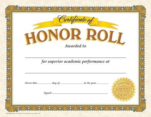Classic Certificates, Honor Roll, T11307 | Certificate within Certificate Of Honor Roll Free Templates