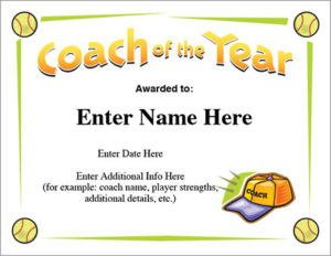 Coach Of The Year Certificate – Softball Award Template for Best Best Coach Certificate Template