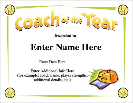 Coach Of The Year Certificate - Softball Award Template for Best Best Coach Certificate Template