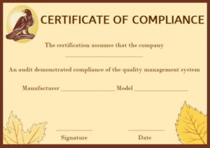 Coc Certificate Of Compliance Template | Certificate inside Certificate Of Compliance Template