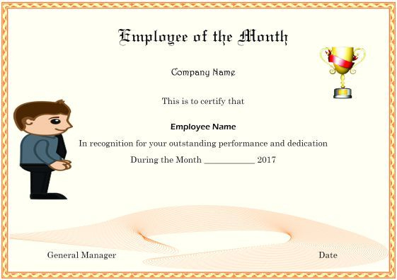 Colorful Employee Of The Month Certificate Templates With throughout Fresh Manager Of The Month Certificate Template