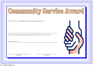 Community Service Award Certificate Template Free 4 for Best Community Service Certificate Template Free Ideas