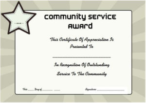 Community Service Certificate Of Appreciation | Certificate in Unique Volunteer Of The Year Certificate 10 Best Awards