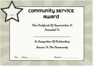 Community Service Certificate Of Appreciation | Certificate with Volunteer Award Certificate Template