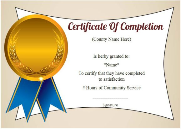 Community Service Certificate Of Completion: 10 Ready-Made pertaining to Community Service Certificate Template Free Ideas