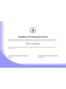 Community Service Certificate Template – Pdf Templates | Jotform pertaining to Unique Recognition Of Service Certificate Template