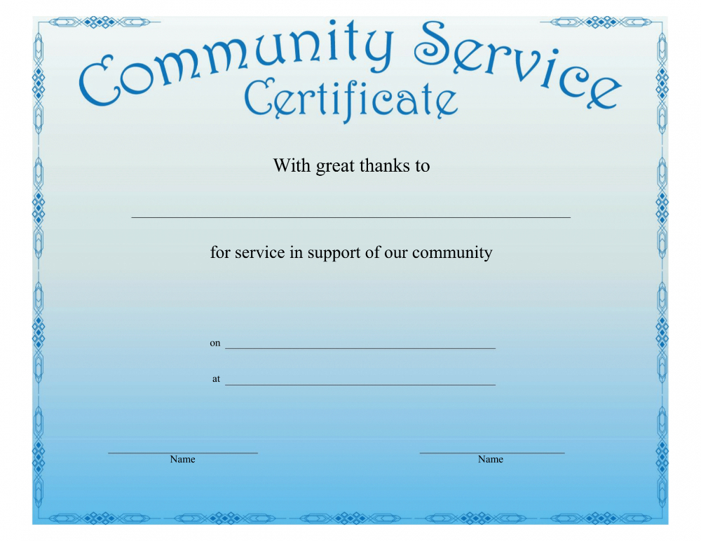 Community Service Certificate Template With This Certificate for This Certificate Entitles The Bearer To Template
