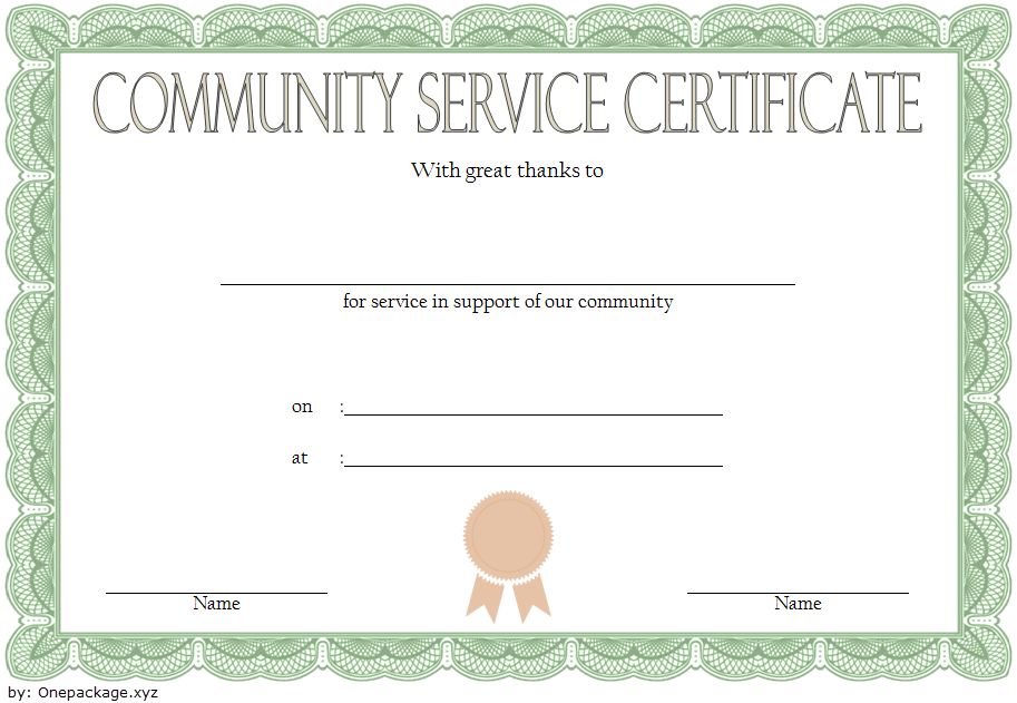 Community Service Hours Certificate Template Free 1 pertaining to Community Service Certificate Template Free Ideas