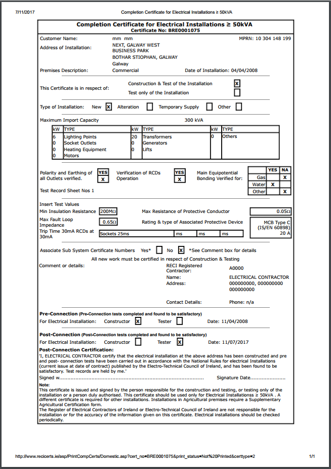 Completion Certificates - Safe Electric for Electrical Installation Test Certificate Template