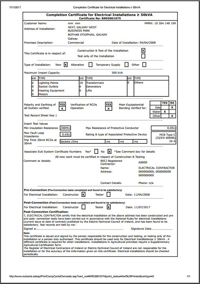 Completion Certificates - Safe Electric With Regard To Minor within Electrical Minor Works Certificate Template
