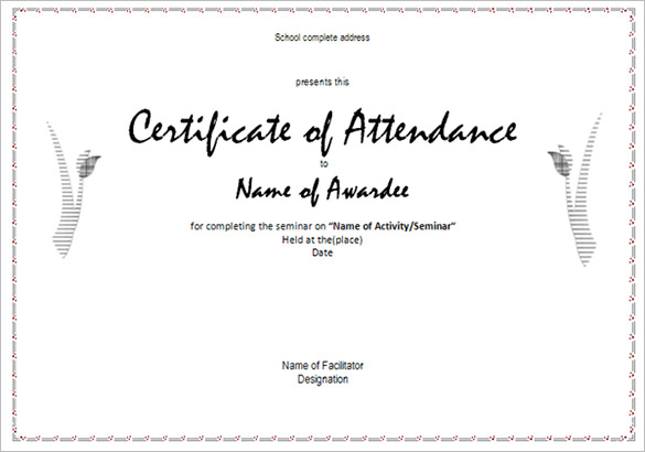 Conference Certificate Of Attendance Template (4 regarding Fresh Certificate Of Attendance Conference Template