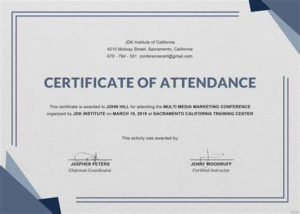 Conference Certificate Of Attendance Template | Attendance pertaining to Quality International Conference Certificate Templates