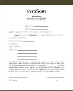 Conformity Certificate Templates – 10 Free Sample Templates for Conformity Certificate Template