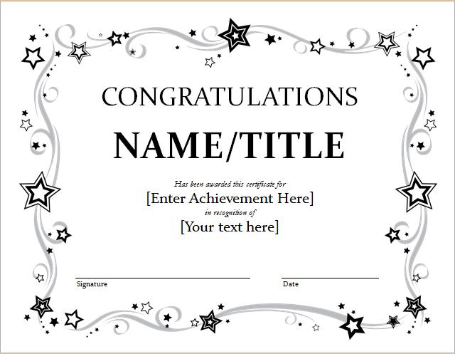Congratulation Certificate Template For Word | Document Hub In Fresh Congratulations Certificate Templates