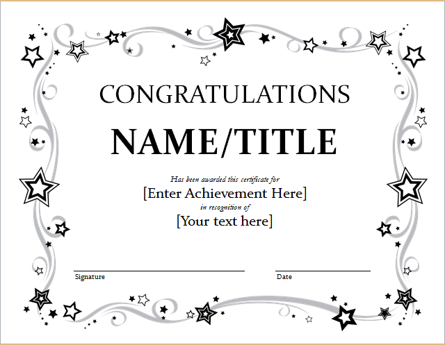 Congratulation Certificate Template For Word | Document Hub intended for Unique Congratulations Certificate Word Template