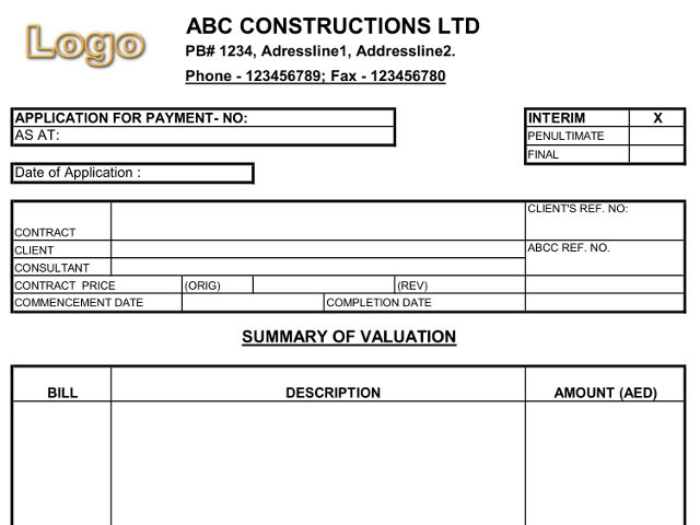 Construction Payment Certificate Template (7) - Templates inside Certificate Of Payment Template