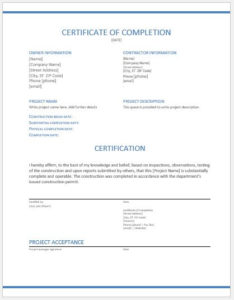 Construction Work Completion Certificates For Ms Word | Word pertaining to Fresh Certificate Of Completion Template Construction