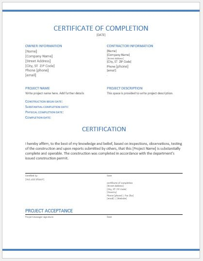 Construction Work Completion Certificates For Ms Word | Word Throughout Fresh Certificate Of Completion Construction Templates