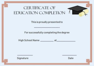 Continuing Education Certificate Of Completion Template inside Certificate Templates For School