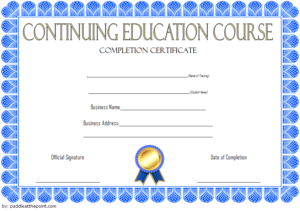 Continuing Education Certificate Template (2) – Templates pertaining to Continuing Education Certificate Template