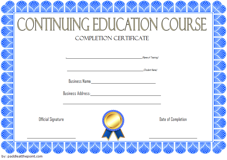 Continuing Education Certificate Template (2) - Templates pertaining to Continuing Education Certificate Template