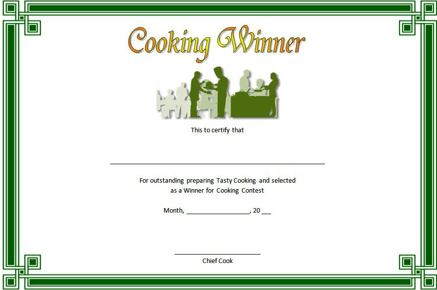 Cooking Competition Certificate Template Free For Winner 1 In Cooking Competition Certificate Templates