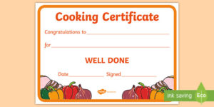Cooking Reward Certificate (Teacher Made) for Cooking Competition Certificate Templates