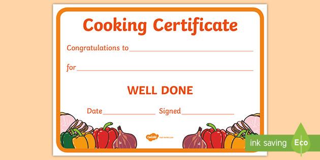 Cooking Reward Certificate (Teacher Made) in Best Certificate Of Cooking 7 Template Choices Free