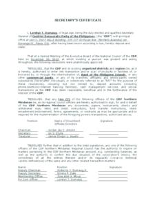 Corporate Secretary Certificate Template (5) – Templates in Best Corporate Secretary Certificate Template