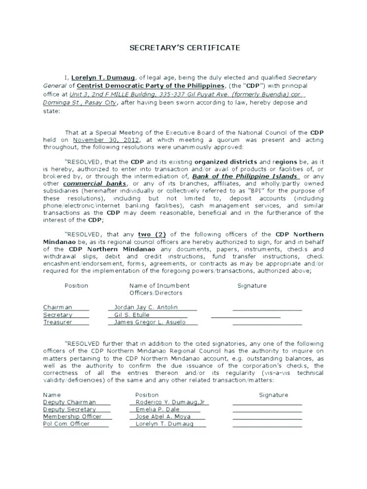 Corporate Secretary Certificate Template (5) - Templates in Best Corporate Secretary Certificate Template
