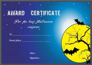 Costume Contest Certificate Template | Certificate Templates for Best Halloween Costume Certificate Template
