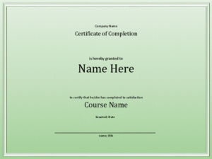 Course Completion Certificate for Quality Training Completion Certificate Template