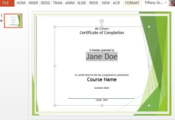 Course Completion Certificate Template For Powerpoint for Quality Class Completion Certificate Template