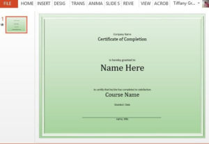 Course Completion Certificate Template For Powerpoint pertaining to Training Completion Certificate Template