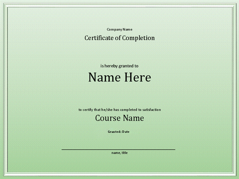 Course Completion Certificate Throughout Quality Class Completion Certificate Template