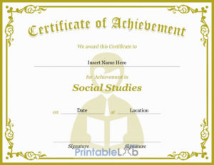 Cream, Sycamore And Your Pink Certificate Of Achievement In with regard to Social Studies Certificate