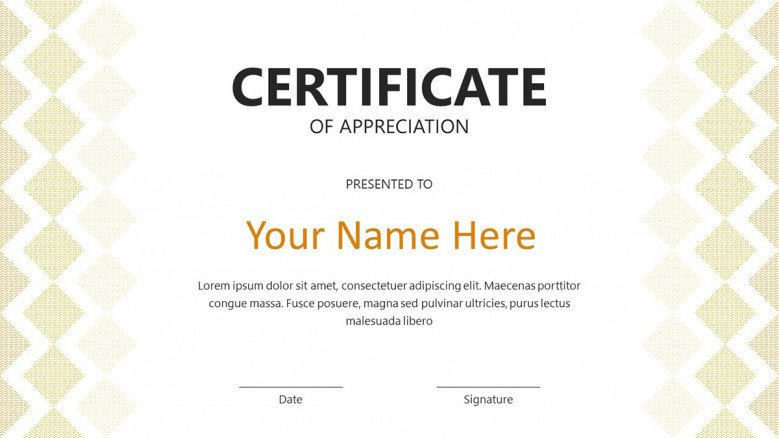 Creative Certificate Template | Free Powerpoint Template for Certificate Of Participation Template Ppt