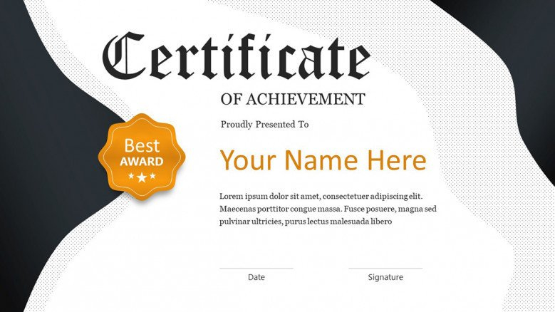 Creative Certificate Template   Free Powerpoint Template Inside Best Award Certificate Template Powerpoint