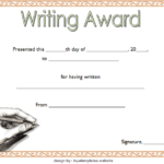 Creative Writing Award Certificate Template Free 1 | Awards intended for Quality Writing Competition Certificate Templates