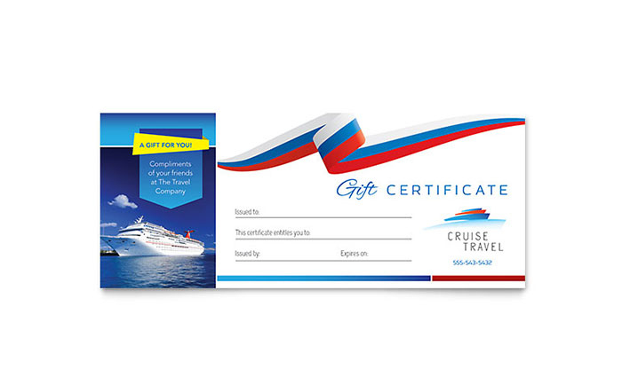 Cruise Travel Gift Certificate Template Design throughout Travel Gift Certificate Editable