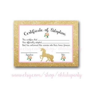 Custom Order Unicorn Adoption Certificatesohtutuparty in Unicorn Adoption Certificate Templates