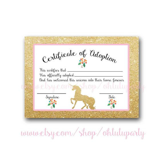 Custom Order Unicorn Adoption Certificatesohtutuparty throughout Unicorn Adoption Certificate Free Printable 7 Ideas